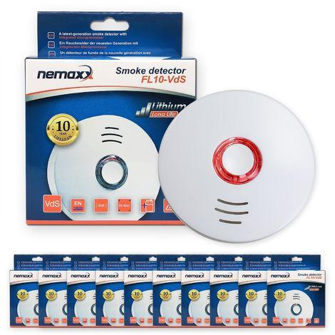 10x Nemaxx FL10VdS - VDS Detector de humo/ Alarma - Vds certificado EN 14604 con pila de de lítio incluida de larga duración - 10 años de vida - blanco