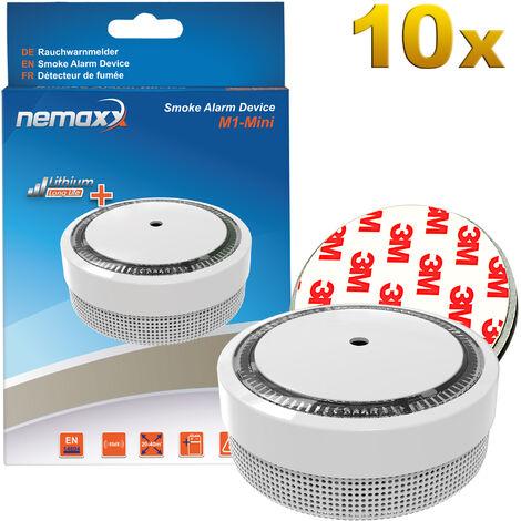 10x Nemaxx M1-Mini Rauchmelder weiß - fotoelektrischer Rauchwarnmelder nach neuestem VdS Standard mit Lithiumbatterie Typ DC3V nach DIN EN14604 + 10x Nemaxx Magnethalterung