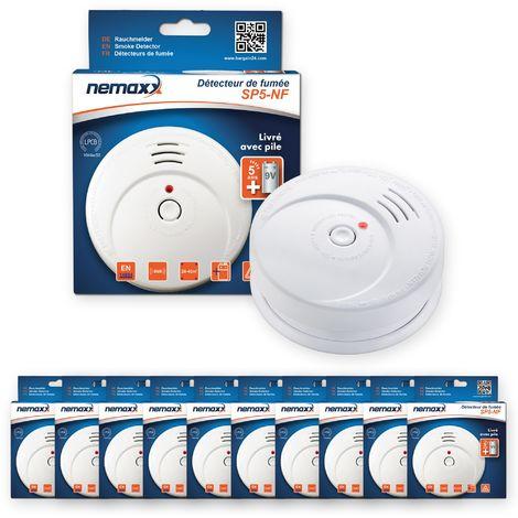 10x Nemaxx SP5-NF Detector de humo de alta calidad con pila incluida de 9V - Blanco