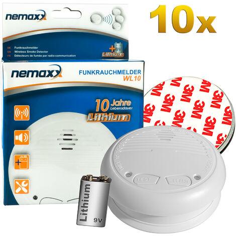 10x Nemaxx WL10 Funkrauchmelder - mit 10 Jahre Lithium Batterie Rauchmelder Feuermelder Set Funk koppelbar vernetzt - nach DIN EN 14604 + 10x Magnethalterung