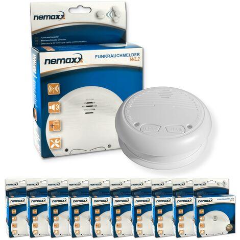 10x Nemaxx WL2 Funkrauchmelder - hochwertiger Rauchmelder Brandmelder Set Funk koppelbar vernetzt - nach DIN EN 14604