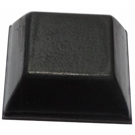 10x pieds patins carrés en caoutchouc H:7.6mm 20x20mm 14x14mm pour meubles. Auto-adhésifs. Noir