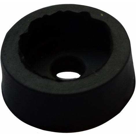 10x pieds patins ronds en caoutchouc H:5mm Ø14mm pour meubles. A visser. Noir