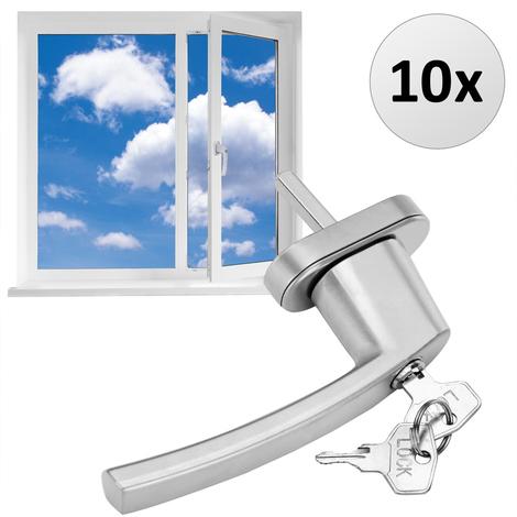 10 x Poignée de fenêtre verrouillable blanc Poignée Fenêtre Clé Sécurité Enfant