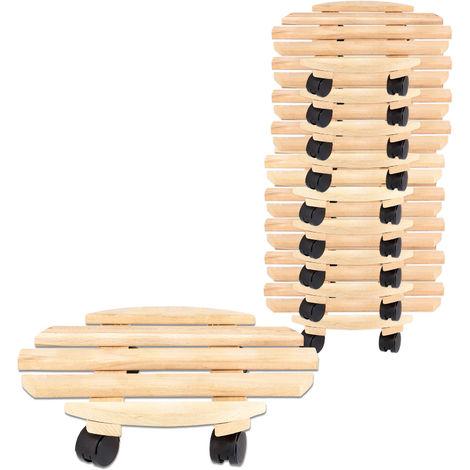 10x Rolluntersetzer Pflanzroller 35 cm - Max. 100 kg Traglast - Aus Buchenholz - Stabil & robust - Für Pflanztöpfe, Möbel & schwere Gegenstände -