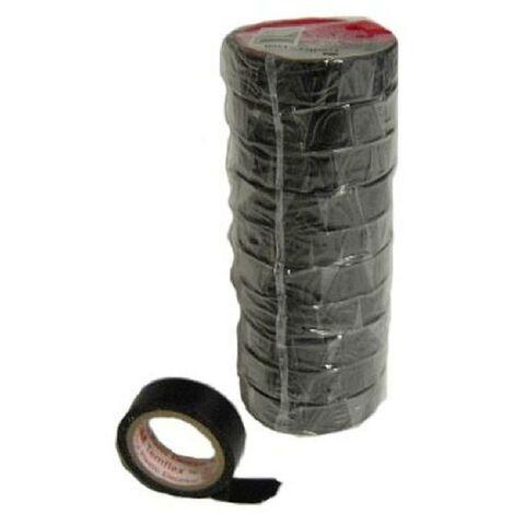 10x Rubans isolation PVC 10mx15mm - Noir