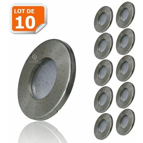 10X Spots LED Encastrables Alu Brossé Etanche IP44 Pour Salle de Bain Blanc Chaud