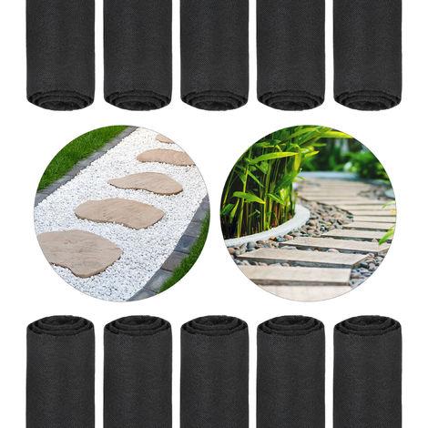 10x Toiles paillage anti-mauvaises herbes 150 m, Bâche tissée, Toile 17 g/m² film, Résiste UV, antidéchirure, noir