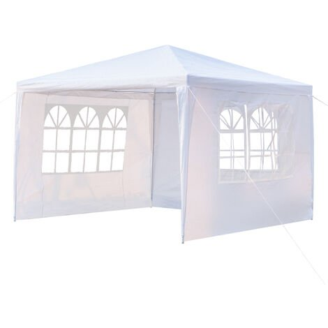 10x10 Inch Three Sides Waterproof Tent with Spiral Tubes White