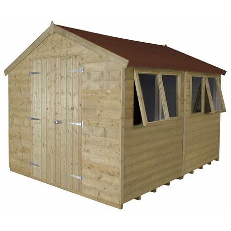 10'x8' Forest Pressure Treated Double Door Tongue & Grooved Apex Shed