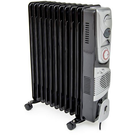 11 Fin 2.5kW Black Oil Filled Radiator W/Turbo Fan & Timer