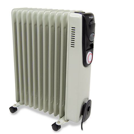 11 Fin 2.5kW Oil Filled Radiator With Adjustable Thermostat & Timer