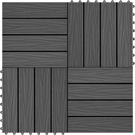 11 pcs Decking Tiles Deep Embossed WPC 30x30 cm 1 sqm Black