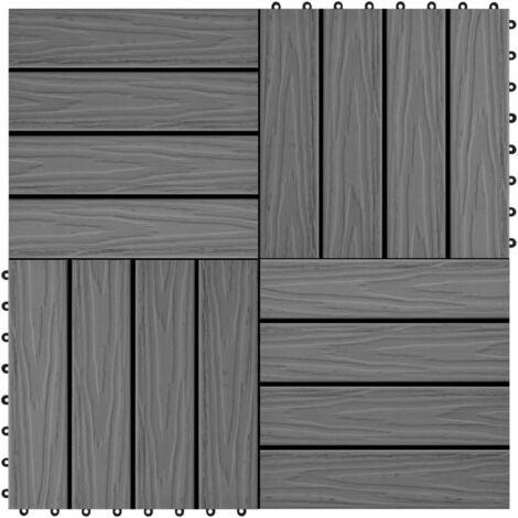11 pcs Decking Tiles Deep Embossed WPC 30x30 cm 1 sqm Grey