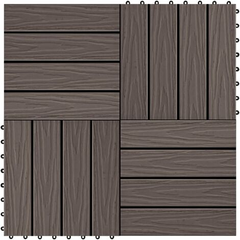 11 pcs Decking Tiles Deep Embossed WPC 30x30cm 1sqm Dark Brown