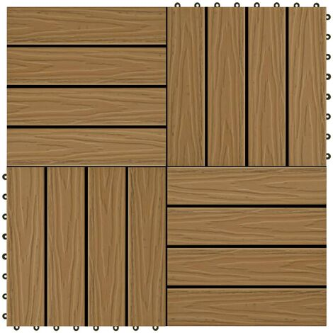 11 pcs Decking Tiles Deep Embossed WPC 30x30cm 1sqm Teak Colour