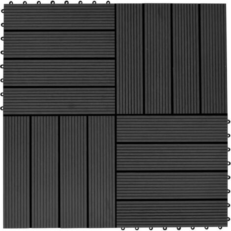11 pcs Decking Tiles WPC 30x30 cm 1 sqm Black