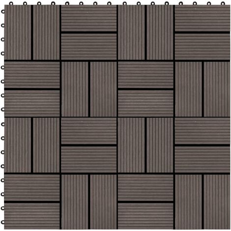 11 pcs Decking Tiles WPC 30x30 cm 1 sqm Dark Brown