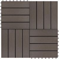 11 pcs Decking Tiles WPC 30x30 cm 1 sqm Dark Brown