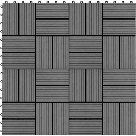 11 pcs Decking Tiles WPC 30x30 cm 1 sqm Grey