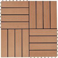 11 pcs Decking Tiles WPC 30x30 cm 1 sqm Teak Colour