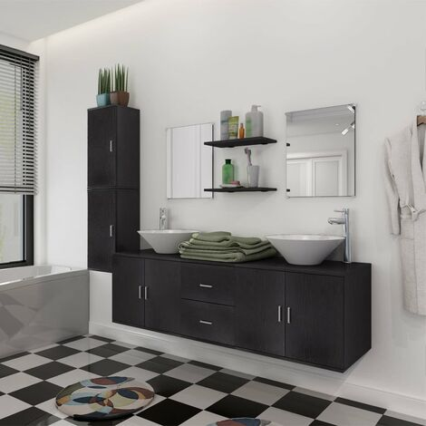 11 Piece Bathroom Furniture Set with Basin with Tap Black - Black