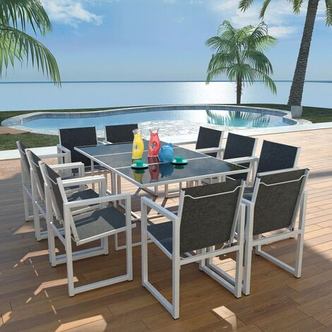 11 Piece Outdoor Dining Set Aluminium Black