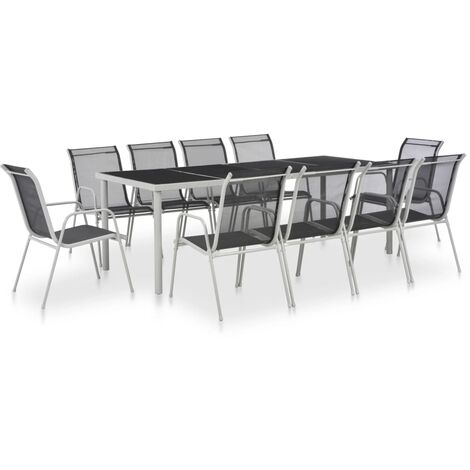11 Piece Outdoor Dining Set Steel and Textilene Black