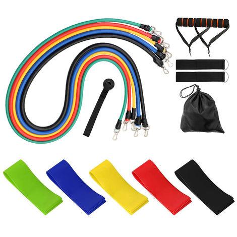 11 piezas / juego, extractor de ejercicios, cinturon de resistencia de fuerza muscular