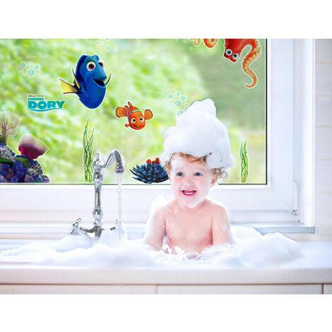 11 Stickers fenetre Le Monde de Dory Disney vue enfant qui prends son bain