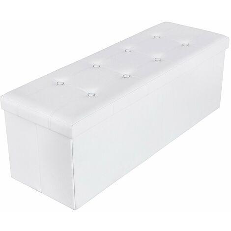 110 x 38 x 38 cm Baúl Puff Taburete para almacenaje Plegable Carga máxima de 300 kg Blanco LSF702
