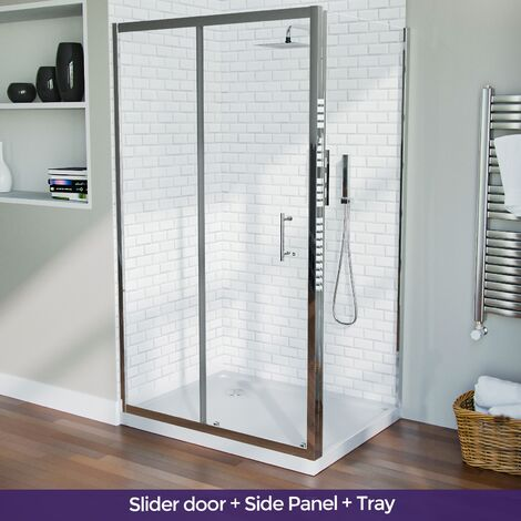 1100 mm Slider Shower Door Enclosure with 760 Frameless Glass Panel Screen + Tray