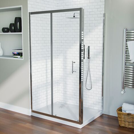 1100 mm Slider Shower Door Enclosure with 800 Framless Glass Panel Screen + Tray