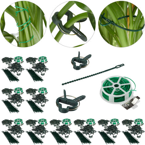 1100-Pc Set, Plant Growing Supports, Stable Plant Clips, Twist Ties, Binding Wire Reel with Cutter, Green