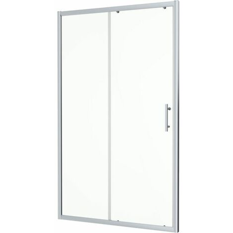 1100 x 760mm Sliding Shower Door Enclosure 6mm Glass Chrome Framed Tray & Waste