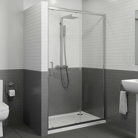 1100 x 760mm Sliding Shower Door Enclosure 8mm Glass Panel Framed Tray & Waste