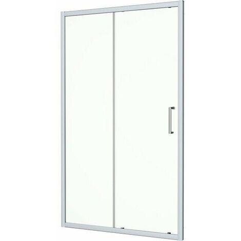 1100 x 760mm Sliding Shower Door & Side Panel Enclosure 8mm Framed Tray & Waste