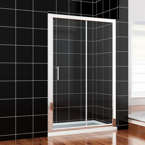 1100 x 760mm Sliding Shower Enclosure 6mm Safety Glass Screen Door Cubicle with Tray + Waste