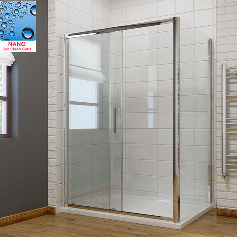 1100 x 760mm Sliding Shower Enclosure 8mm Easy Clean Glass Shower Cubicle Door with Shower Tray + Side Panel