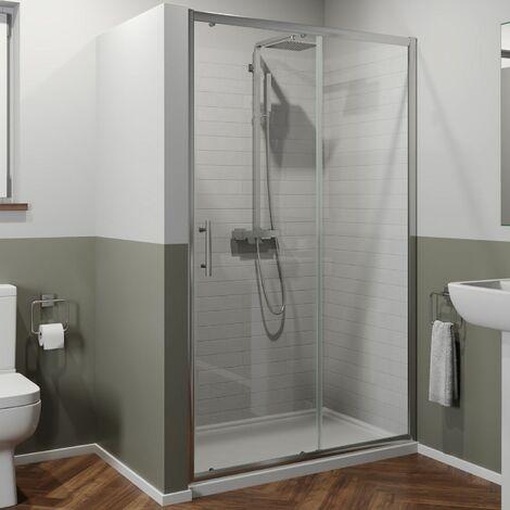 1100 x 800mm Sliding Shower Door Enclosure 6mm Glass Chrome Framed Tray Waste