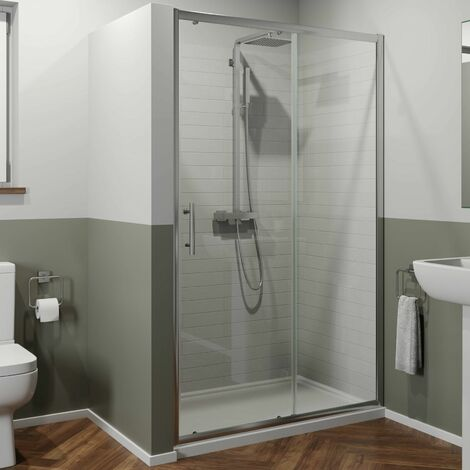1100 x 900mm Sliding Shower Door Enclosure 6mm Glass Chrome Framed Tray & Waste