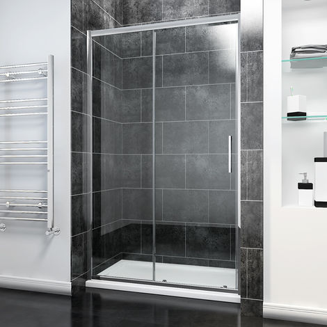 1100 x 900mm Sliding Shower Door Modern Bathroom 8mm Easy Clean Glass Shower Enclosure Cubicle with Shower Tray and Waste
