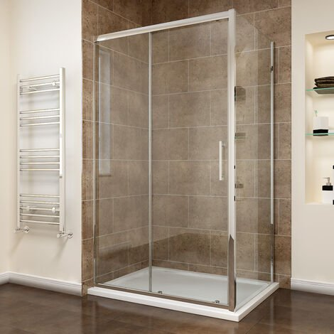 1100 x 900mm Sliding Shower Enclosure 8mm Easy Clean Glass Shower Cubicle Door with Shower Tray + Side Panel