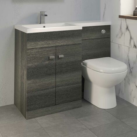 1100mm Bathroom Vanity Unit Basin & Toilet Combined Unit LH Grey
