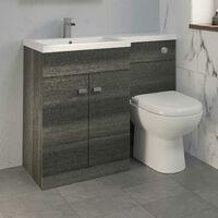 1100mm Bathroom Vanity Unit Basin & Toilet Combined Unit LH Grey