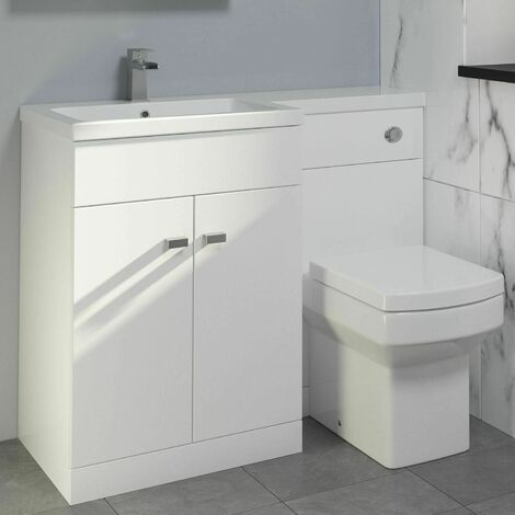 1100mm Bathroom Vanity Unit Basin Toilet Combined Unit LH White