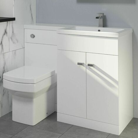 1100mm Bathroom Vanity Unit + Basin Toilet Combined Unit RH White