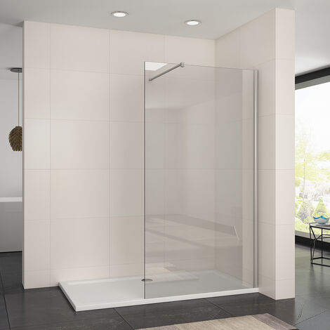 1100mm Frameless Wet Room Shower Screen Panel 8mm Easy Clean Glass Walk in Shower Enclosure