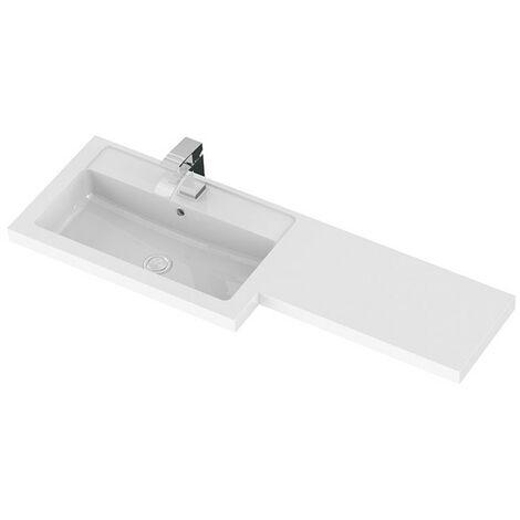 1100mm L Shape Polymarble Basin - Left Hand - size - color White