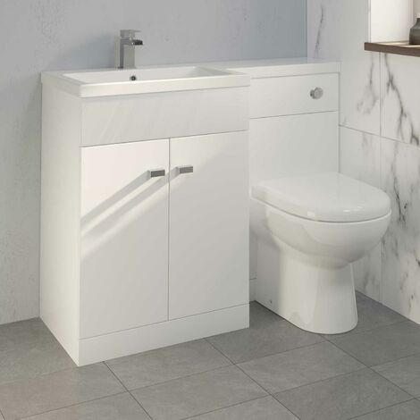 1100mm Toilet Bathroom Modern Vanity Unit Combined Basin Unit LH White